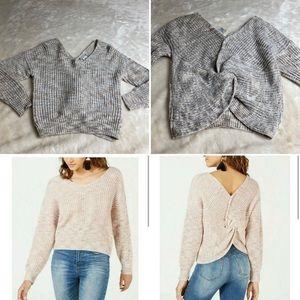 American rag gray twist back sweater xxs